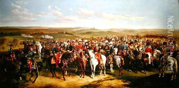 Visit of Prince Albert 1819-61 to the Emperor Napoleon III 1808-73 on the heights near Boulogne, 8th September 1854 Oil Painting - Alfred F. De Prades