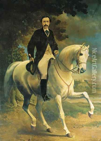 Equestrian Portrait of Henry Robert Clifton, on a grey horse, in a landscape, with Clifton Castle, Nottinghamshire, beyond Oil Painting - Alfred F. De Prades