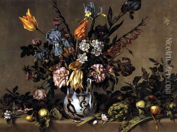 Still-Life with Flowers, Artichokes and Fruit c. 1660 Oil Painting - Antonio Ponce