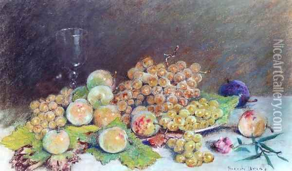 White Grapes and Plums Oil Painting - Pierre Ernest Prins