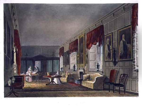 Dr. Fishers Apartments at Charter House, from History of Charter House School, part of History of the Colleges, engraved by Joseph Constantine Stadler fl.1780-1812 pub. by R. Ackermann, 1816 Oil Painting - Augustus Charles Pugin