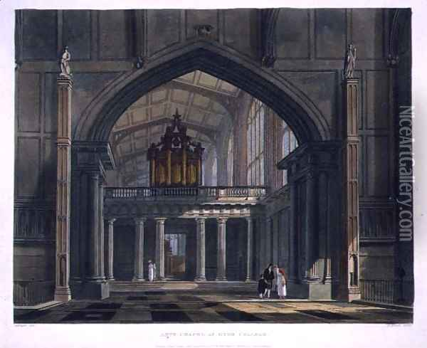 Ante-Chapel of Eton College, from History of Eton College, part of History of the Colleges, engraved by Daniel Havell 1785-1826 pub. by R. Ackermann, 1816 Oil Painting - Augustus Charles Pugin