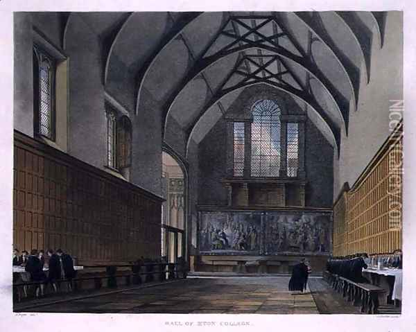 Hall of Eton College, from History of Eton College, part of History of the Colleges, engraved by Joseph Constantine Stadler fl.1780-1812 pub. by R. Ackermann, 1816 Oil Painting - Augustus Charles Pugin