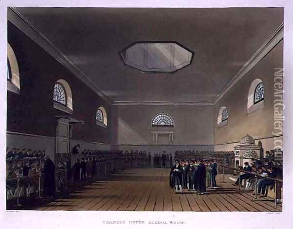 Charter House School Room, from History of Charter House School, part of History of the Colleges, engraved by J. Bluck fl.1791-1831 pub. by R. Ackermann, 1816 Oil Painting - Augustus Charles Pugin