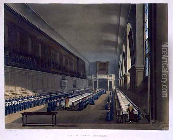 Hall of Christ Hospital, from History of Christs Hospital', part of History of the Colleges, engraved by Joseph Constantine Stadler fl.1780-1812 pub. by R. Ackermann, 1816 Oil Painting - Augustus Charles Pugin