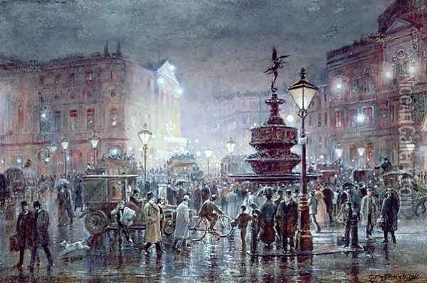 Piccadilly Circus at Night, 1911 Oil Painting - Thomas Prytherch