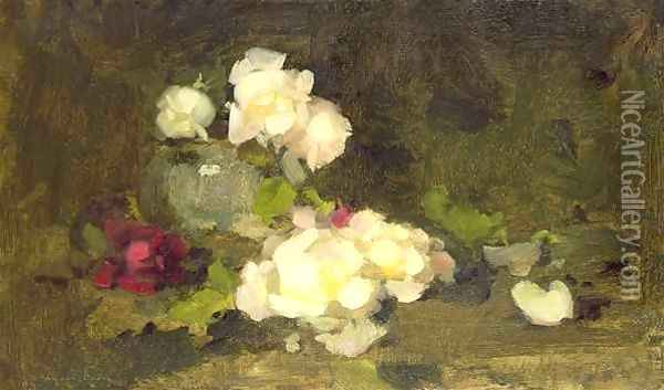 Still life of yellow and red roses in a green vase Oil Painting - James Stuart Park