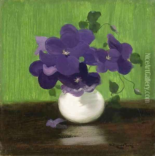 Violets, c.1900 Oil Painting - James Stuart Park