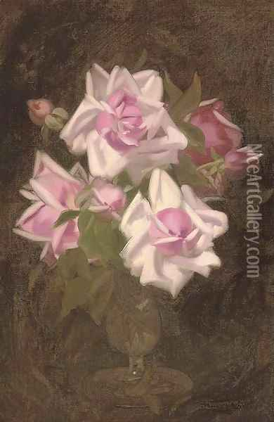 Pink roses in a vase Oil Painting - James Stuart Park