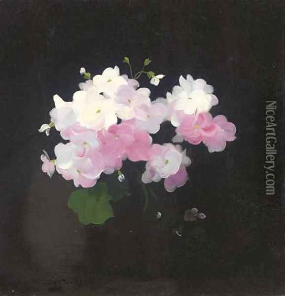 Pink and white camellias Oil Painting - James Stuart Park