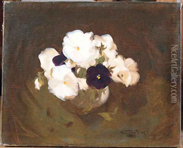 White and Purple Violas Oil Painting - James Stuart Park