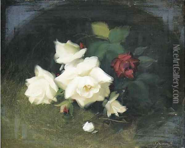 White and red roses 2 Oil Painting - James Stuart Park