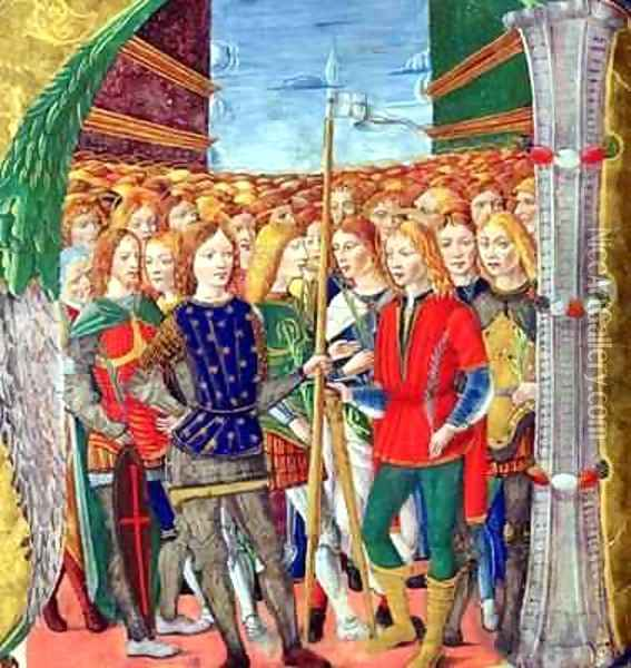 Historiated initial N depicting St. Maurice and the Theban Legion, Lombardy School, c.1499-1511 Oil Painting - Alessandro Pampurino