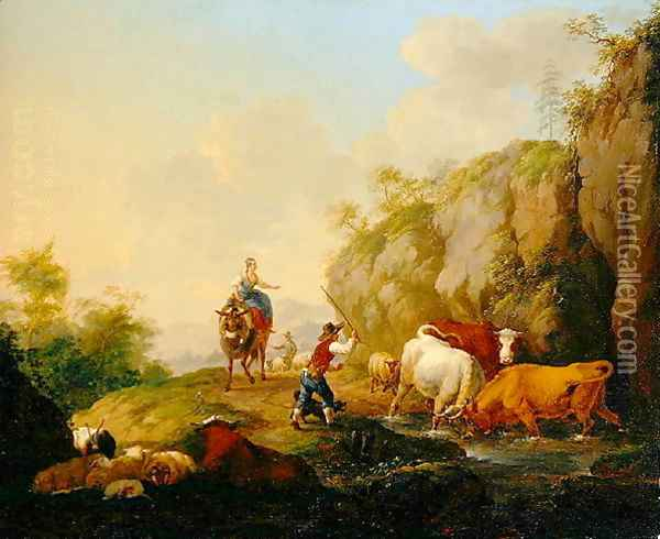 Landscape with Herdsman and Rustics, 1783 Oil Painting - Johann Georg Pforr