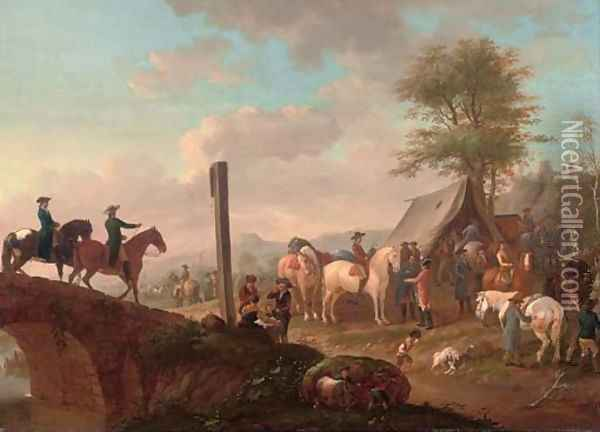 A military encampment Oil Painting - Johann Georg Pforr