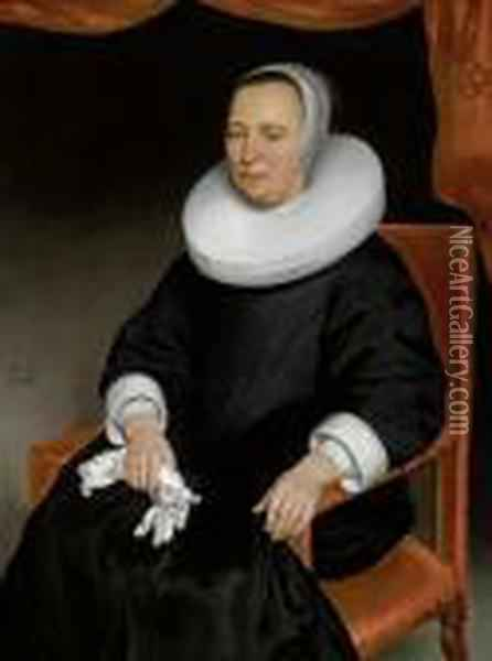Portrait Of A Noblewoman In A Black Dress With White Collar Oil Painting - Nicolaes Maes