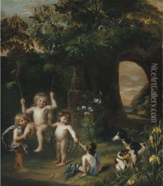 Children Playing With A Swing In A Classical Garden Setting Oil Painting - Nicolaes Maes