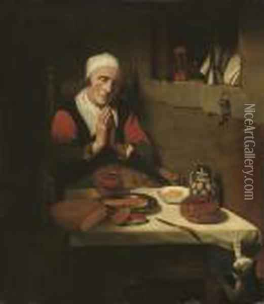 An Old Womam, Seated, In Prayer, At A Table Oil Painting - Nicolaes Maes