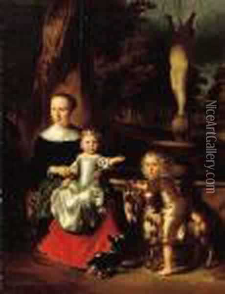 A Group Portrait Of A Mother And Her Two Children By A Fountain In A Park Oil Painting - Nicolaes Maes