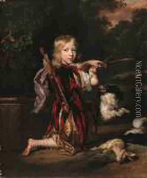 Portrait Of A Youth, Small  Full-length Kneeling, In Classical Stylecostume, Drawing A Bow, A Dead  Rabbit Beside Him, With A Spaniel,in A Wooded Landscape Oil Painting - Nicolaes Maes