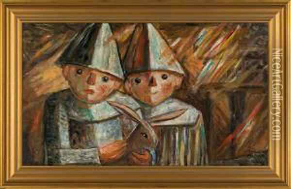 Two Children Wih Rabbit Oil Painting - Tadeusz Makowski