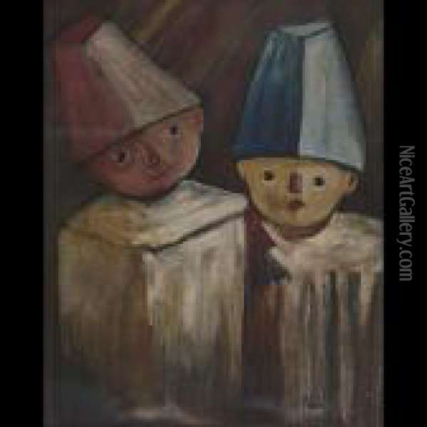 Two Young Friends Oil Painting - Tadeusz Makowski