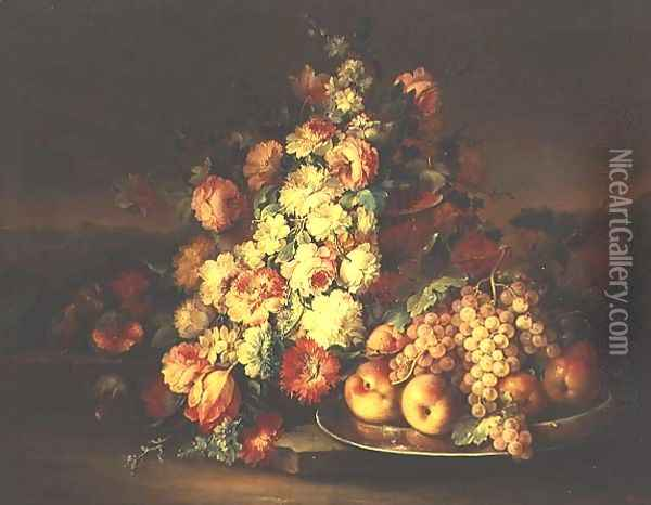 Still Life with Flowers and a Pewter Plate with Fruit Oil Painting - Maximilian Pfeiler