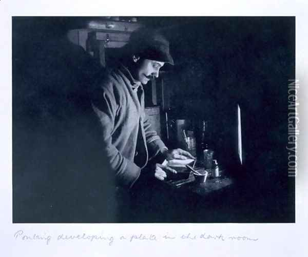 Ponting developing a plate in the dark room, from Scotts Last Expedition Oil Painting - Herbert Ponting