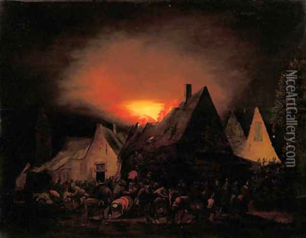 A townhouse ablaze with villagers trying to rescue Oil Painting - Adriaen Lievensz van der Poel