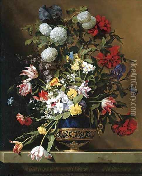 Chrysanthemums, tulips, irises, peonies and other flowers in a lapis vase with gilt ormolu on a sculpted stone ledge Oil Painting - Jean Picart