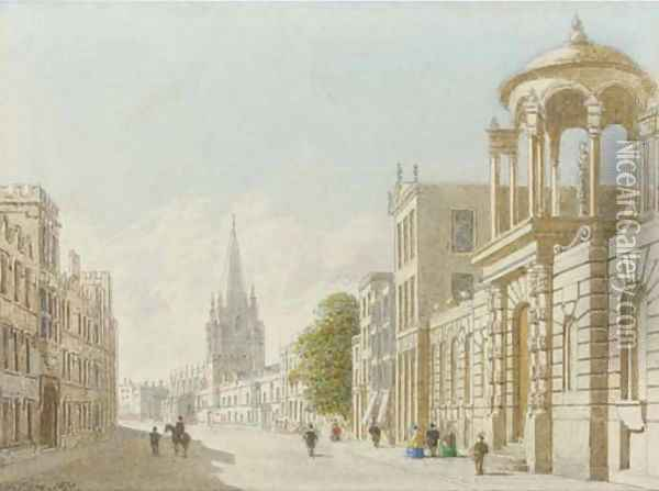 University College, St Mary's Church and Queen's College, Oxford Oil Painting - George Pyne