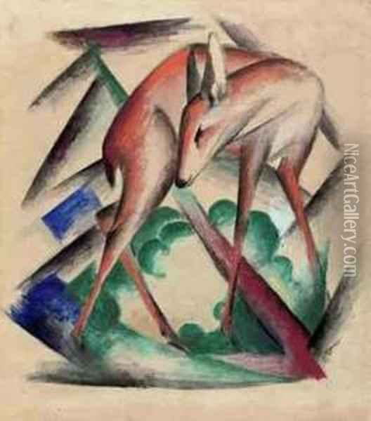 Reh Oil Painting - Franz Marc