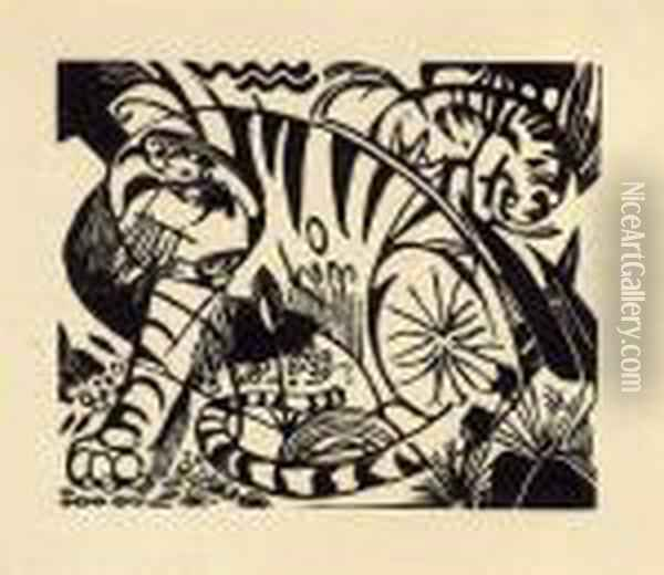 Tiger Oil Painting - Franz Marc