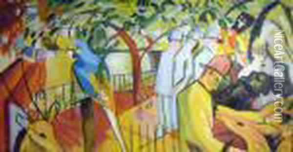 Zoo With Figures Oil Painting - Franz Marc