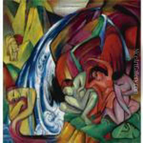 Der Wasserfall (frauen Unter Einem Wasserfall) The Waterfall (women Under A Waterfall) Oil Painting - Franz Marc
