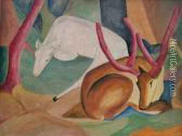Untitled Oil Painting - Franz Marc