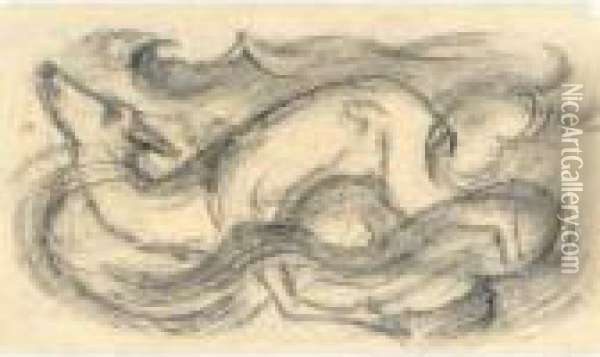 Schwimmendes Reh (swimming Deer) Oil Painting - Franz Marc