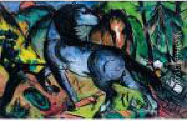 Zwei Grosse Pferde In Landschaft (two Large Horses In A Landscape) Oil Painting - Franz Marc