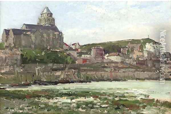 The fishing port of Les Treport at the mouth of the Bresle with the Terrace Calvary and the Church of St Jacques Oil Painting - Pierre Jacques Pelletier