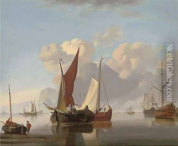 Dutch barges at sea in a stiff breeze; and Dutch barges in a calm offshore (illustrated) Oil Painting - Charles Martin Powell