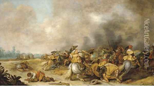 A cavalry engagement Oil Painting - Palamedes Palamedesz. (Stevaerts, Stevens)