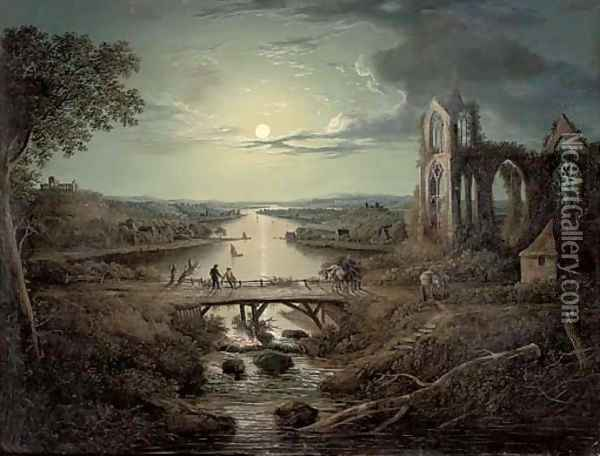 A moonlit view of the River Tweed with Melrose Abbey in the foreground and figures on a bridge Oil Painting - Abraham Pether