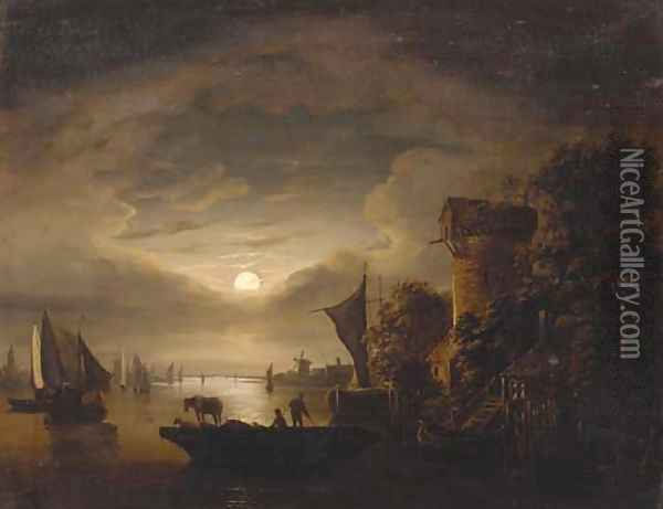 Figures with livestock on a ferry, in a moonlit river landscape Oil Painting - Abraham Pether