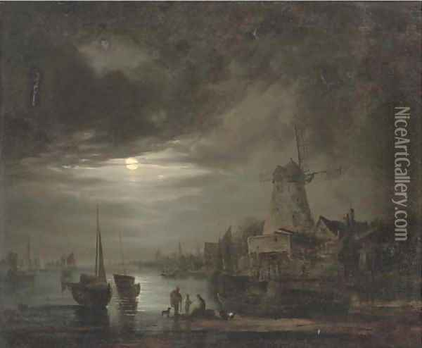 Figures on the bank of a river, by moonlight Oil Painting - Abraham Pether