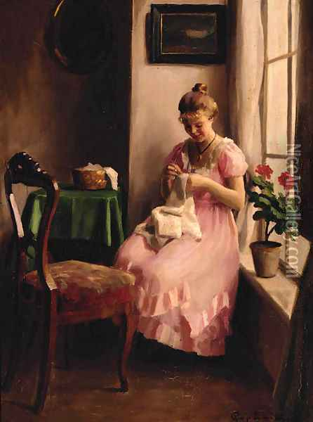A girl in a pink dress sewing by the window Oil Painting - Emil Pap