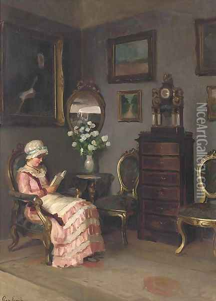 A lady reading in an interior Oil Painting - Emil Pap
