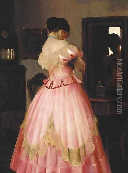 A lady in pink Oil Painting - Emil Pap