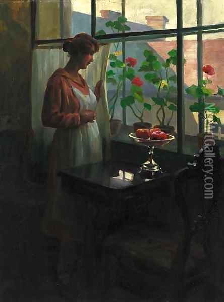 A lady at a sunlit window Oil Painting - Emil Pap