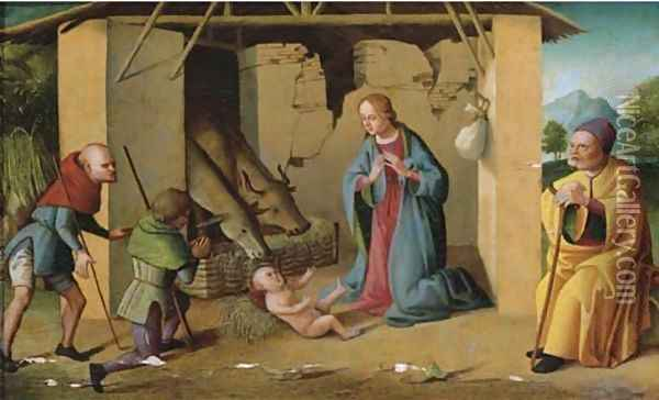 The Adoration of the Shepherds Oil Painting - Marco Palmezzano