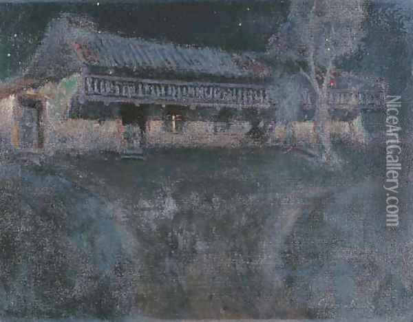 Moonlight Casa Escolar, Monterey Oil Painting - Charles Rollo Peters